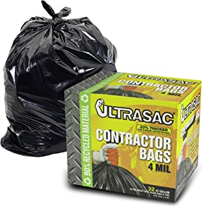 Extra Heavy Duty Contractor Bags - 42 Gallon, 4 Mil (32 Pack w/Ties) - 48' x 33' Extremely Thick and Tough Professional Trash Bag for Construction, Commerical, Industrial, Yard, Outdoor use and More