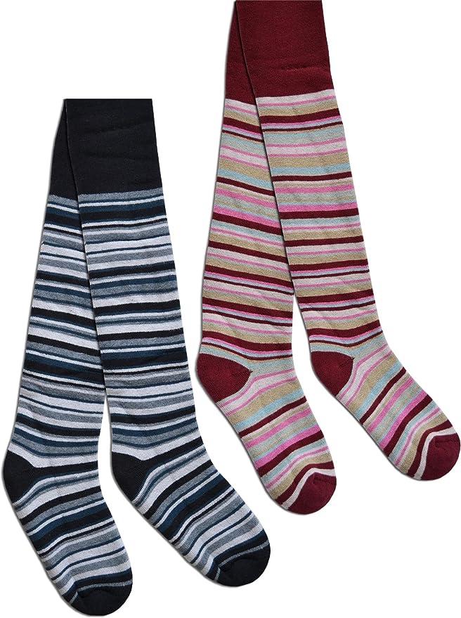 2 Paar Kinder Ringel Thermo Strumpfhose f/ür Jungen und M/ädchen in verschiedenen Farben Farbe Burgund Gr/ö/ße 134//146