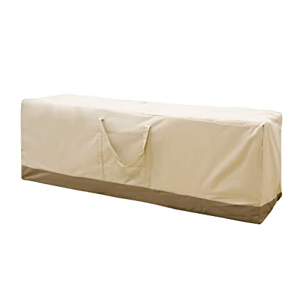 APARESSE Outdoor Rectangular Protective Zippered Patio Seat Cushion/Cover  Storage Bag Beige , Water Resistant