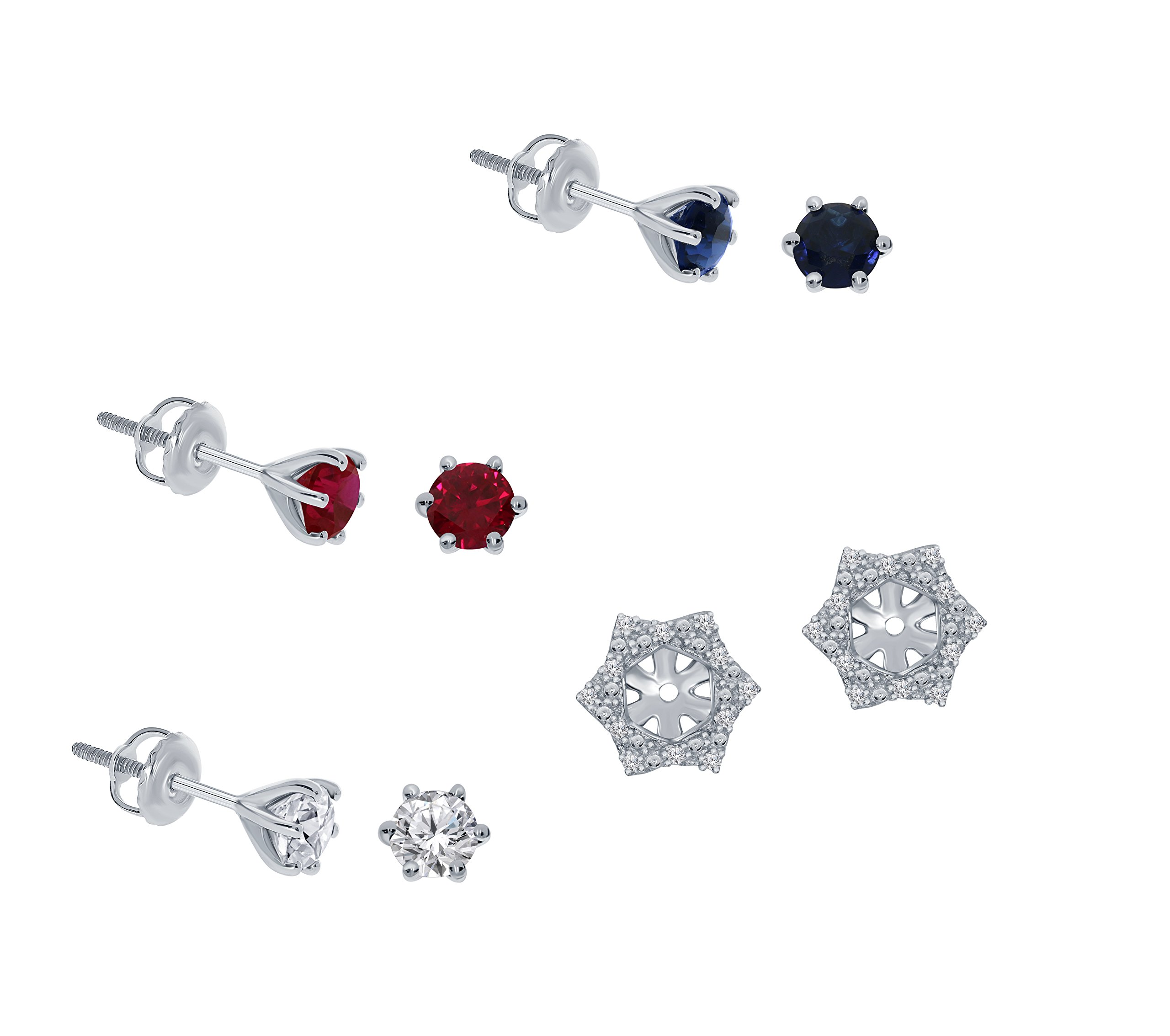 1/10ct White Diamond Sterling Silver Jacket Earring Blue Sapphire Ruby White Sapphire Gemstone Stud Earring Set