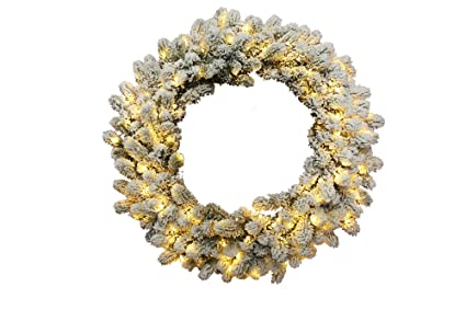 King Of Christmas 36 Inch King Flock Wreath With 150 Ul Warm White Led Lights Plug In