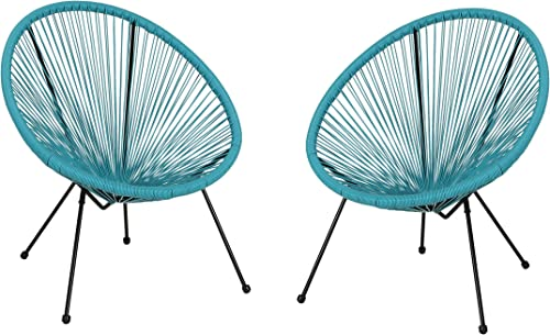 Major Outdoor Hammock Weave Chair with Steel Frame Set of 2 – Teal and Black Finish