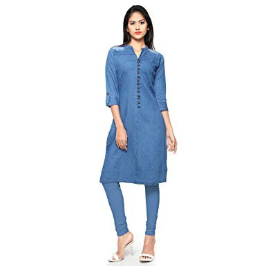 92545d4da0 Sheknows Fusion Wear Cotton Blue Denim Straight Kurta  Amazon.in ...