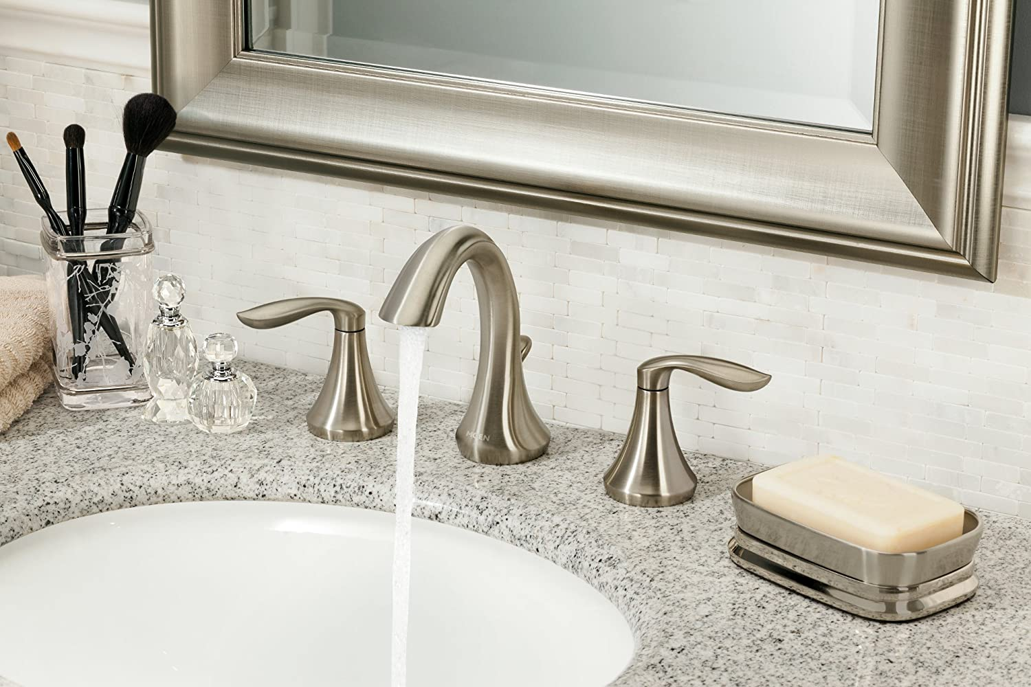 Moen T6420 Eva Two-Handle High-Arc 8-Inch Widespread Bathroom Faucet, Valve Required, Valve Required, Chrome - Widespread Faucet -