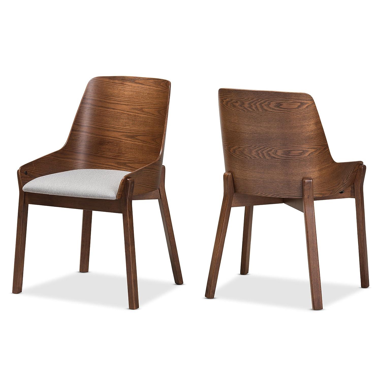 Baxton studio rye mid century modern walnut wood light grey fabric dining chair set qty 2 mid century grey medium wood fabric polyester 100 rubber wood