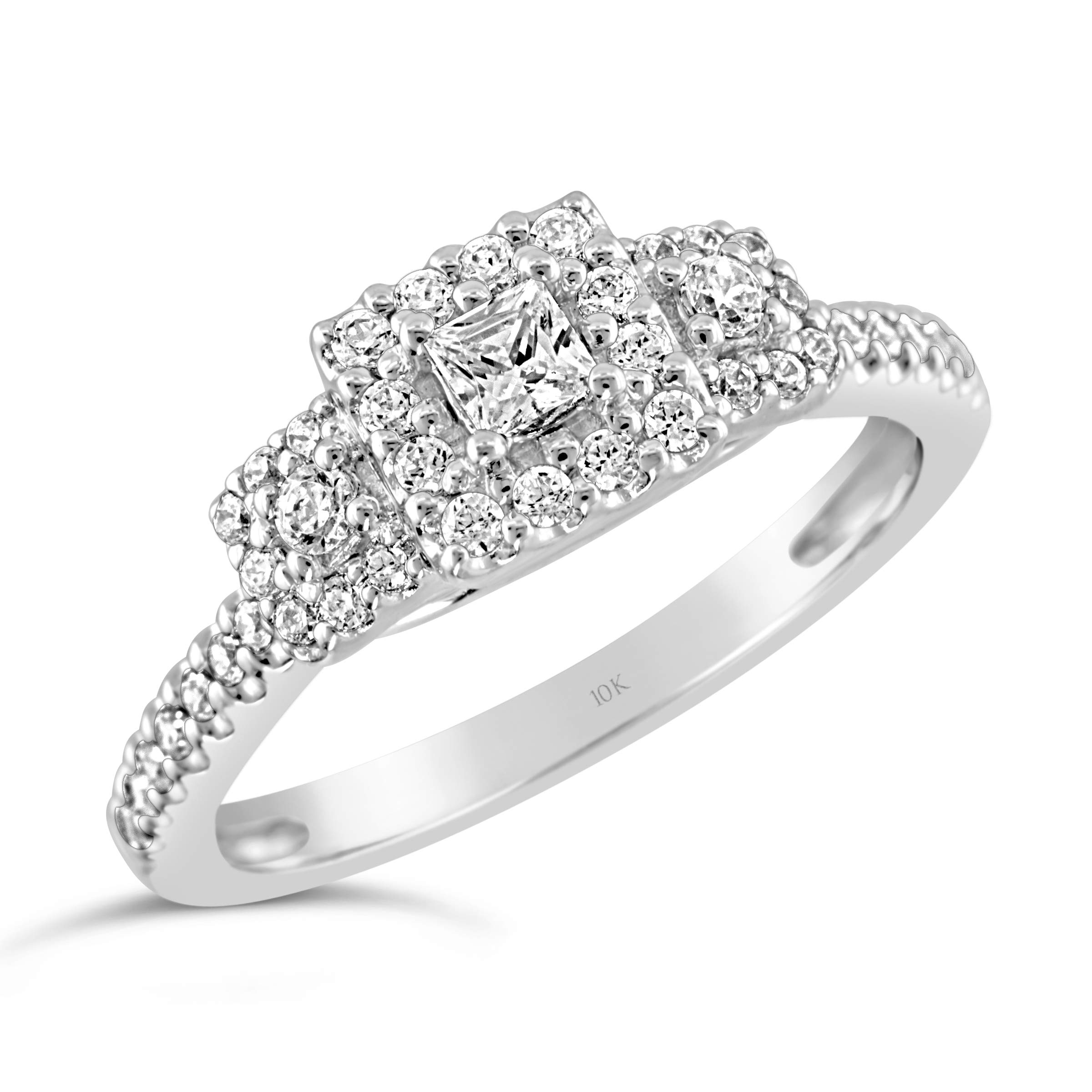 Brilliant Expressions 10K White Gold 3/8 Cttw Conflict Free Diamond Square Halo Three-Stone Engagement Ring (I-J Color, I2-I3 Clarity), Size 8