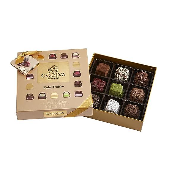 Godiva, Cube Truffles bombones trufas surtidas caja regalo 9 piezas, 90g