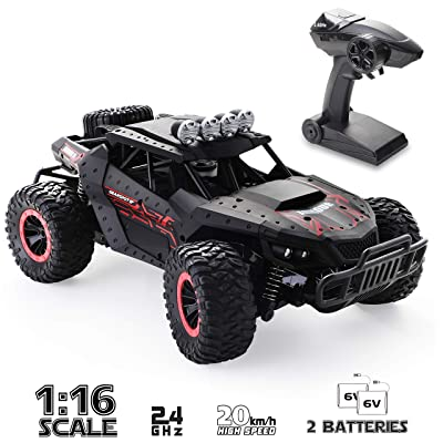 RC Car 1:16 Scale Remote Control Car Off-Road RC Trucks 2.4 GHz with 2 Rechargeable Batteries,Electric Toy Car for All Adults & Kids: Toys & Games