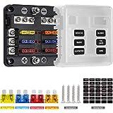 Deyooxi caja fusibles 12v,portafusibles con Lámpara de Alerta LED Kit,porta fusibles coche con Bus Negativo para Coche…