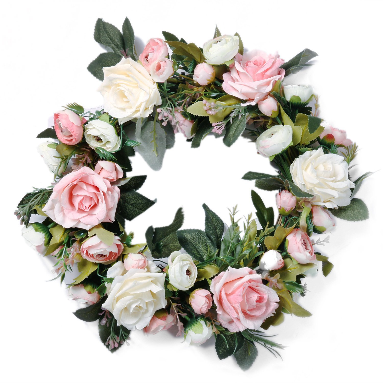 Amazon Pauwer Artificial Pink Peony Door Wreath 13
