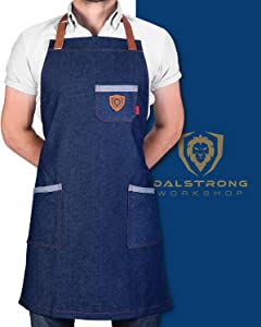 Dalstrong Professional Chef's Kitchen Apron - 100% Cotton Denim - 4 Storage Pockets - Liquid Repellent Coating - Genuine Leather Accents - Adjustable Straps (American Legend - 100% Cotton Blue Denim)