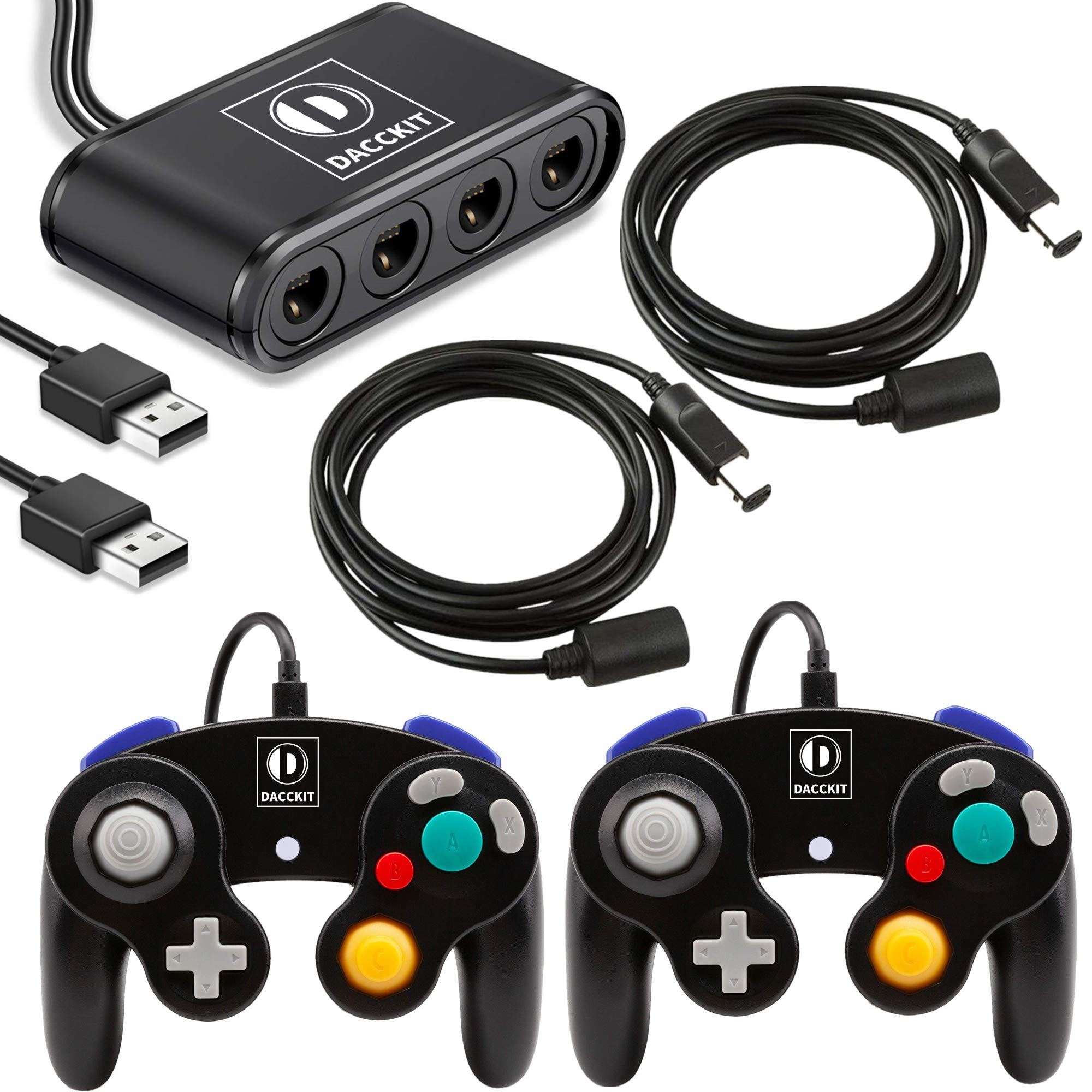 D DACCKIT Gamecube Accessories Bundle Compatible with Switch/Wii U/PC - Includes 2x Gamecube Controllers, 1x Gamecube Controller Adapter, 2x NGC Extension Cords