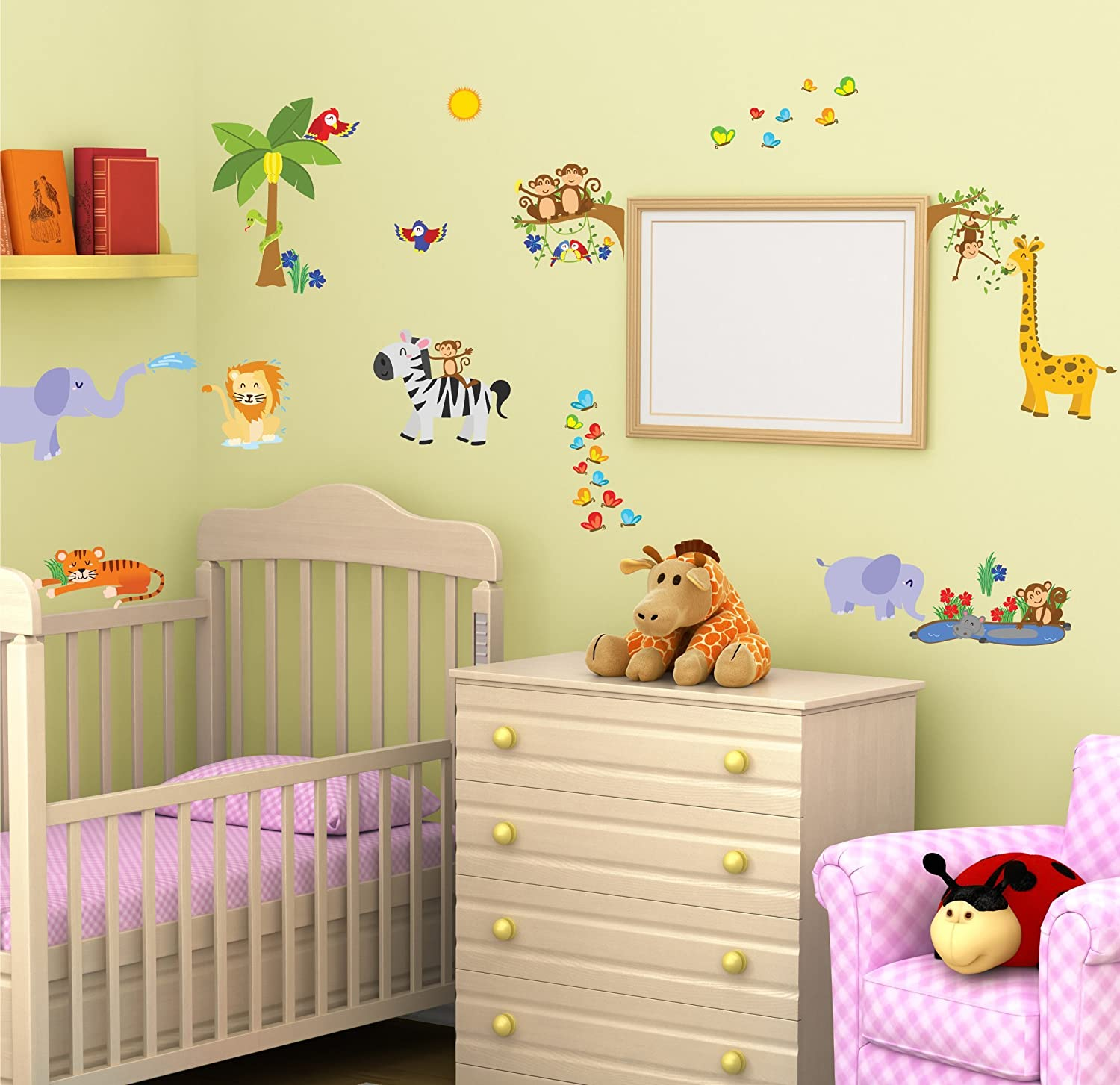 Amazon.com: Kids Jungle Animals Wall Decals - Peel and Stick Safari ...