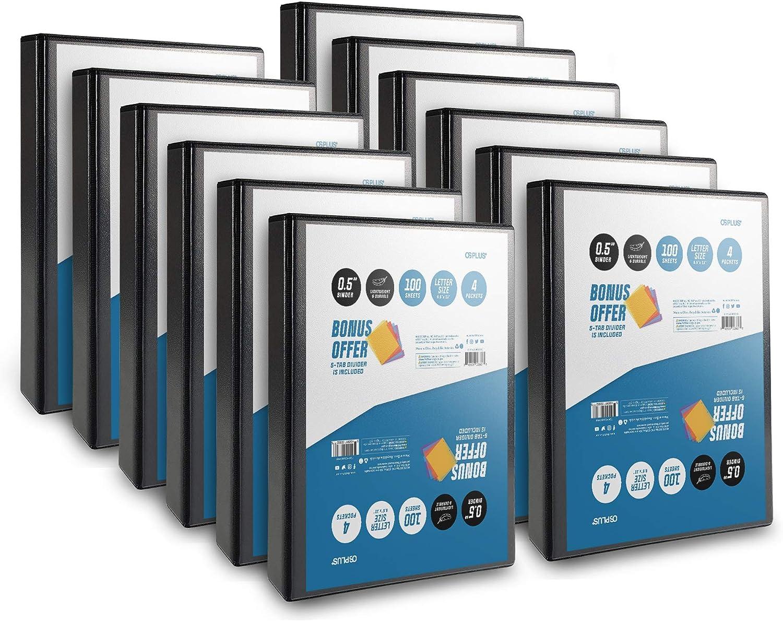 Bonus 1 Set Divider Included 4 Pack Black OS Plus Durable D-Ring Binder 1.5 Inch