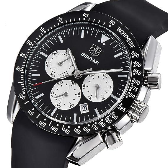 BENYAR Cuarzo cronógrafo Impermeable Relojes Business Casual Deporte de Silicona Reloj de Pulsera: Amazon.es: Relojes