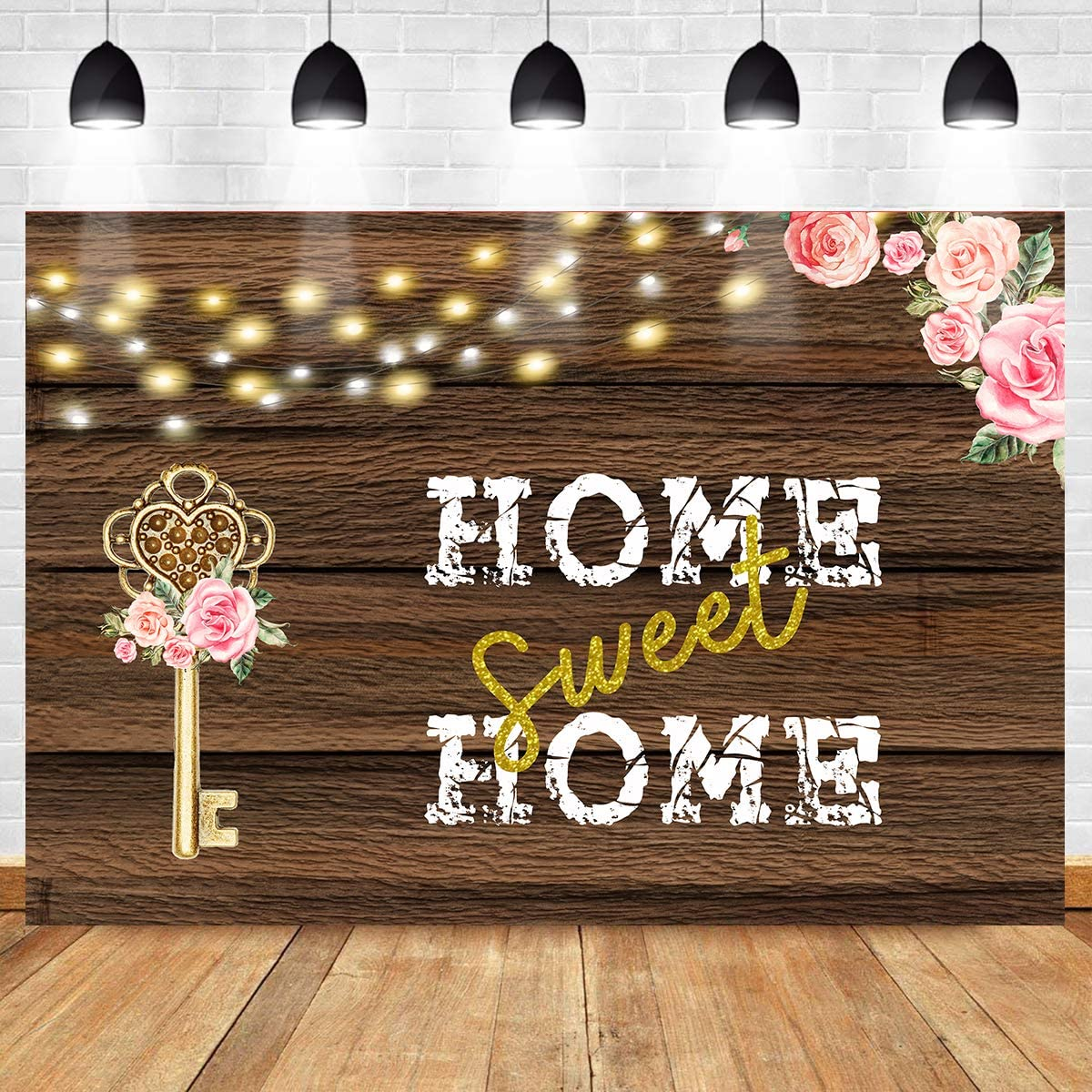 7x10 FT Home Sweet Home Vinyl Photography Backdrop,Housewarming Welcoming Theme Antique Frame with Flowers and Birds Background for Party Home Decor Outdoorsy Theme Shoot Props