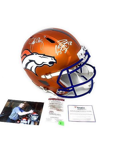 Peyton Manning John Elway Denver Broncos DUAL Signed Autograph Rare BLAZE  Speed Full Size Helmet Elway b7a410415