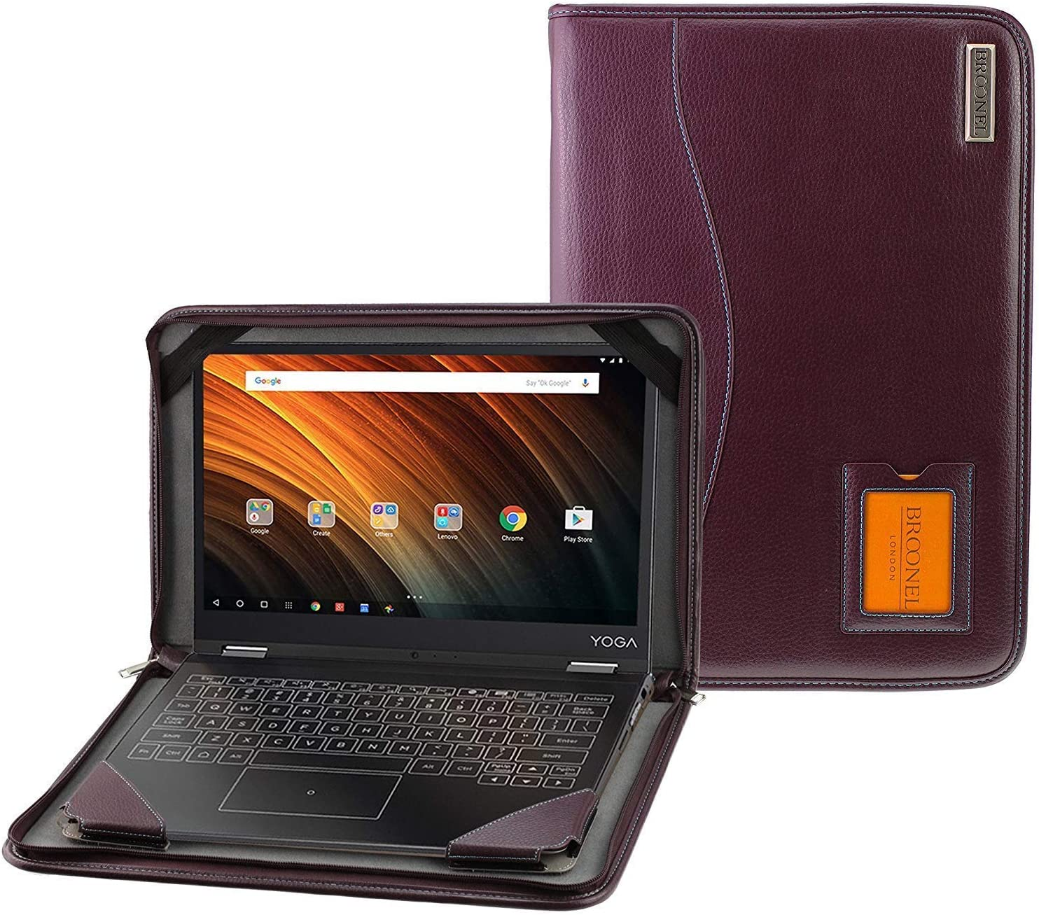 Purple Leather Protective Case with Shoulder Strap Compatible with The Lenovo 14w 14 Inch Laptop Broonel Contour Series