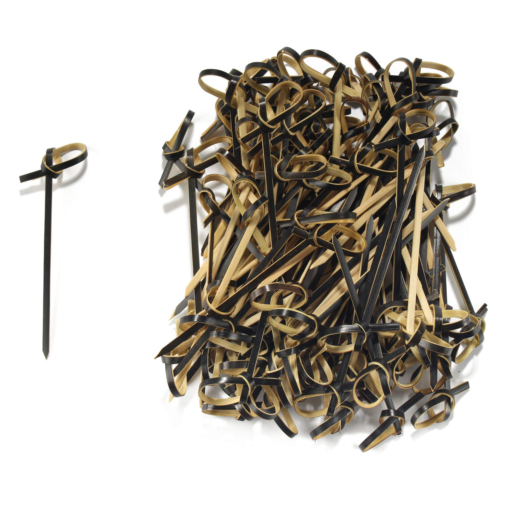 BambooMN 3.5'' Bamboo Black Knotted Knot Skewers Picks for Cocktails and Hors' D'oeuvres Party Supplies, 1000 Pieces