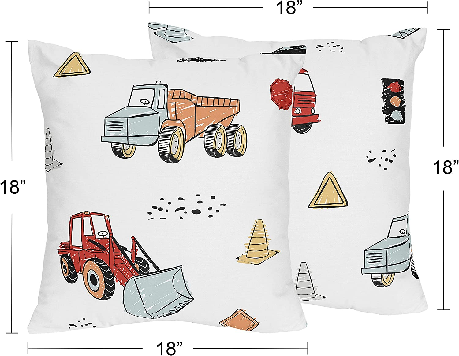 Grey Yellow Orange Red and Blue Transportation Sweet Jojo Designs Construction Truck Decorative Accent Throw Pillows Set of 2