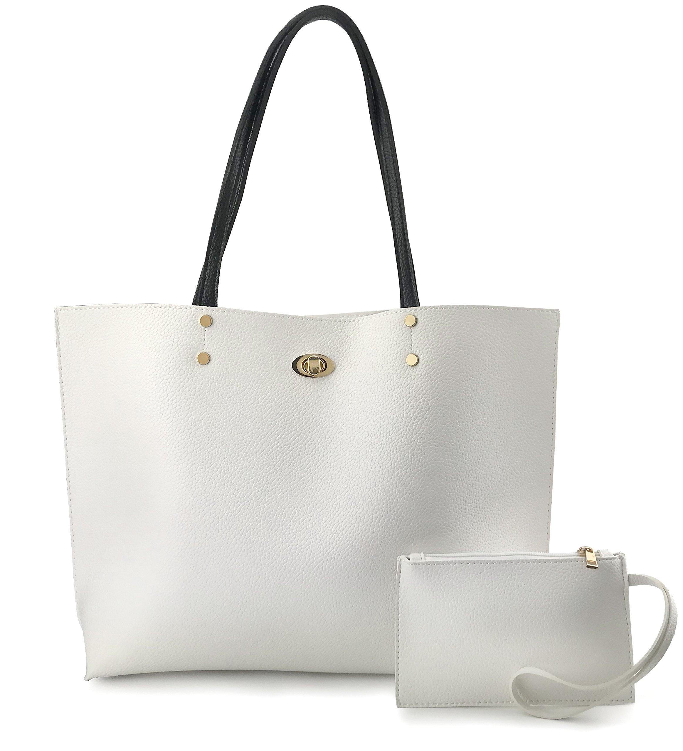 Women's Tote Color-Block Pebbled Faux Leather Shoulder Handbag With Zipper Pocuh Wristlet (White)