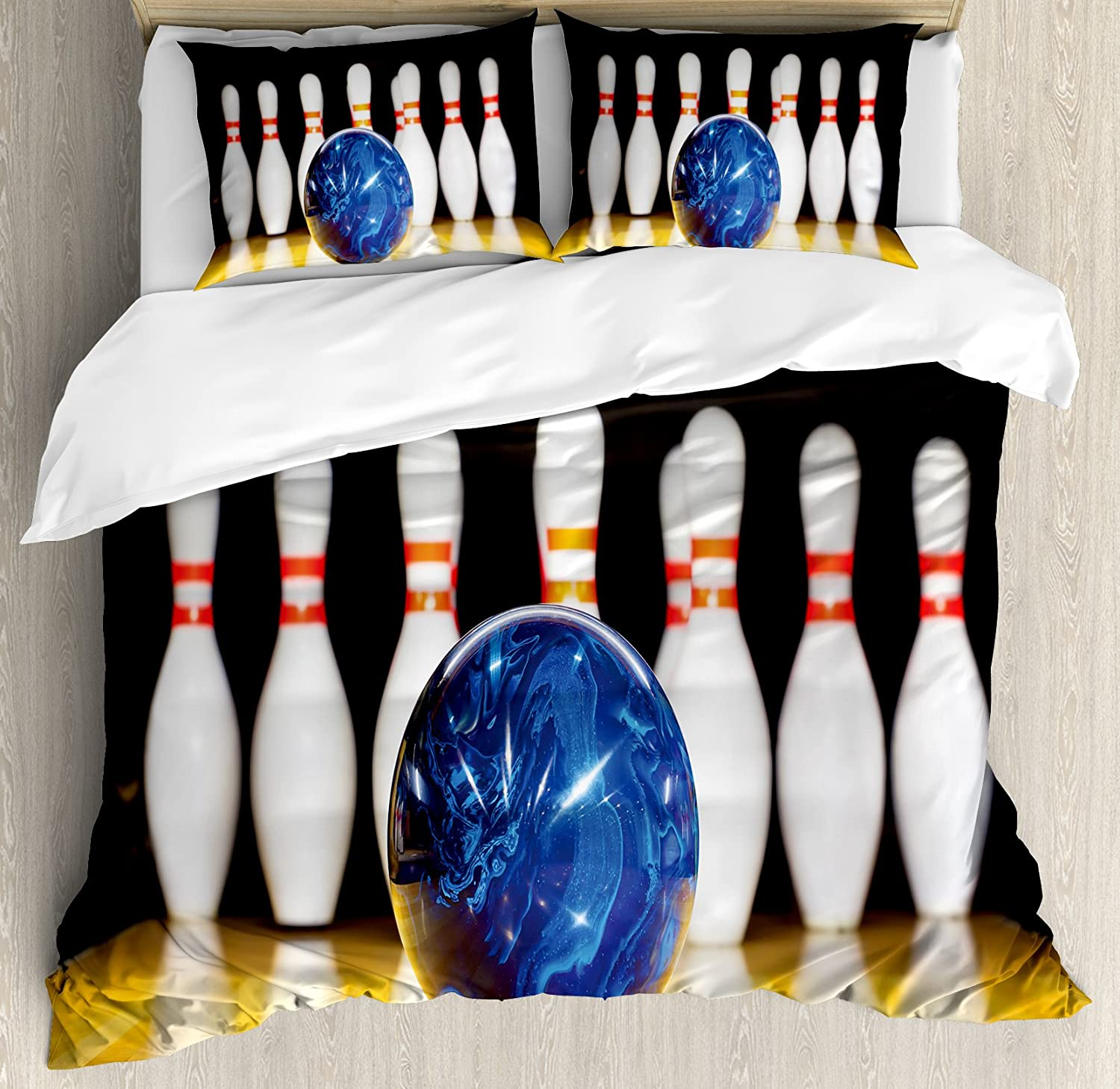 Ambesonne Bowling Party Duvet Cover Set, Blue Abstract Ball on The Lane Pins Close up View Sports Leisure Time Game, Decorative 3 Piece Bedding Set with 2 Pillow Shams, Queen Size, Blue Yellow