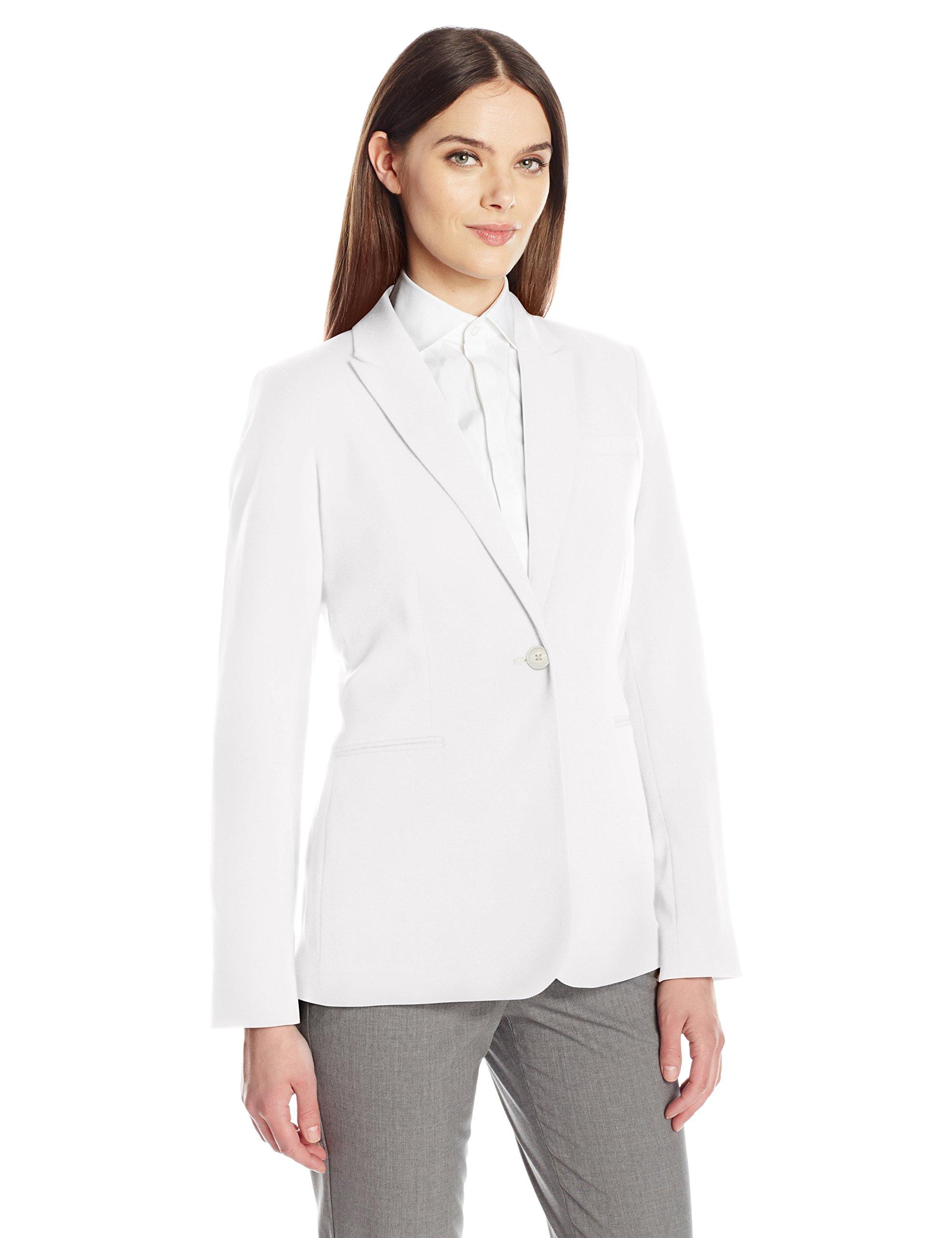 Calvin Klein Women's Single Button Suit Jacket, Soft White, 16