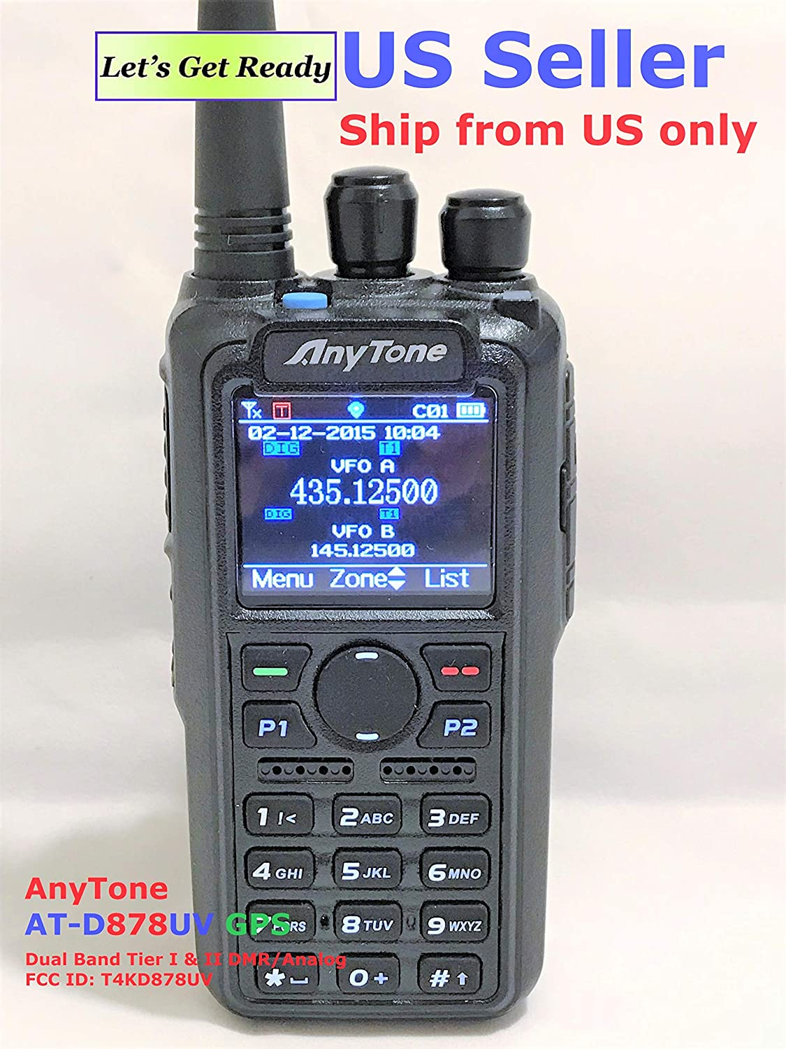 Amazon com anytone at d878uv gps non bluetooth version and 2 free items updated firmware upgraded 3100mah battery dual band dmr analog 144 480 mhz