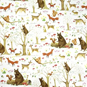 "Woodland Forest Animals Gift Wrapping Paper Flat Sheet - 24"" x 6'"