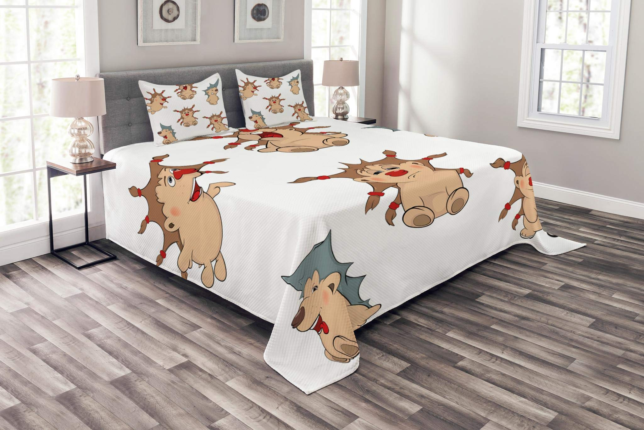 Lunarable Funny Bedspread Set King Size, Hedgehogs with Cool Hair Spiky Camouflage Native Australian Echidna Animals Nature, Decorative Quilted 3 Piece Coverlet Set with 2 Pillow Shams, Brown Tan
