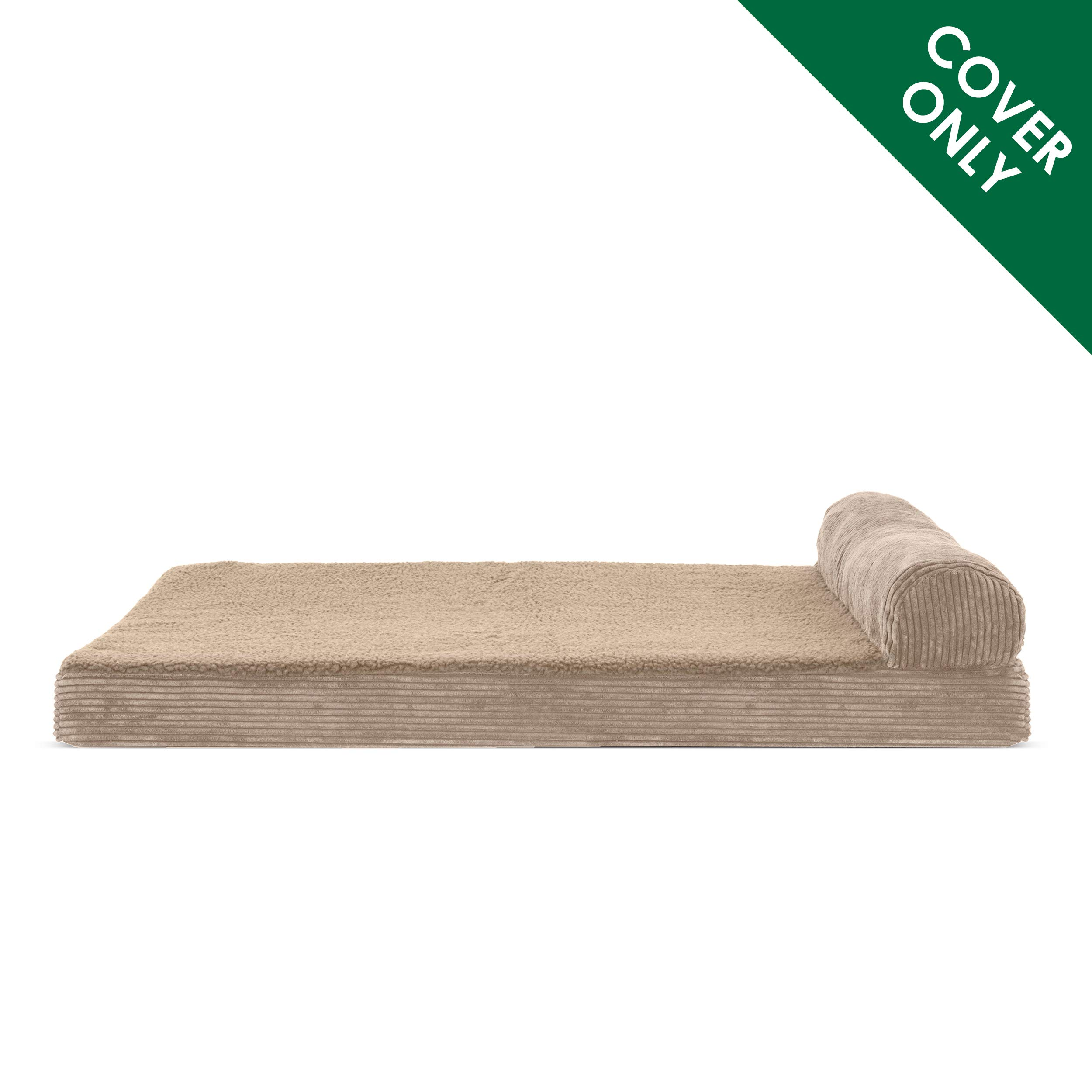 Furhaven Pet Dog Bed | Faux Fleece & Corduroy Chaise Lounge Living Room Couch Pet Bed Replacement Cover for Dogs & Cats, Sandstone, Jumbo Plus by Furhaven