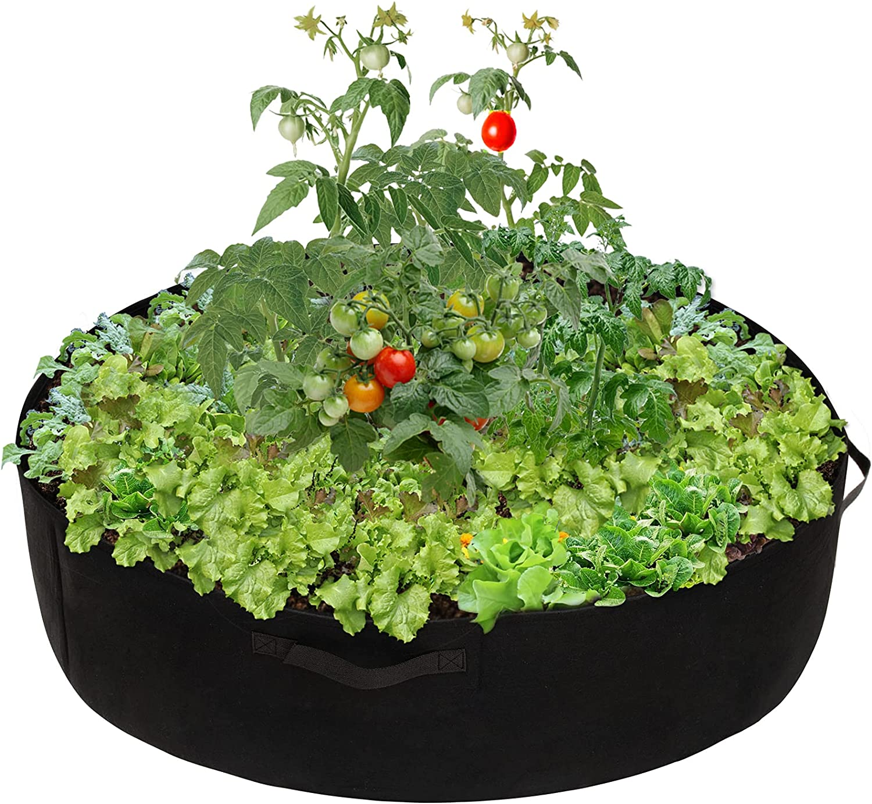 100 Gallon Round Fabric Raised Planting Bed with 4 Handles (Black)- Thicken Non-Woven Garden Veggie Grow Bag Fabric Garden Plant Bed Planter Container for Garden Plant Vegetable Flower Herb Growing