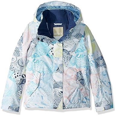 d0eeb48c2 Roxy Little Jetty Girl Snow Jacket, Bright White_ALSKA Bird, 8/S