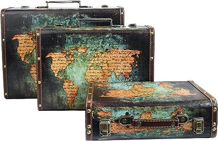 Emartbuy Conjunto de 3 Cajas de Maletas de Equipaje de Almacenamiento Decorativas Retro Impresas con Mango de Piel Sintética y Cierres Metálicos de Bloqueo - Mapa del Mundo: Amazon.es: Hogar