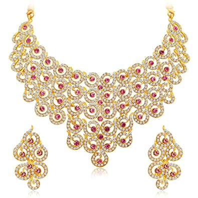 4e5fb2f49a067 Sukkhi Divine Gold Plated AD Necklace Set for Women (Golden) (2378NADS1350)