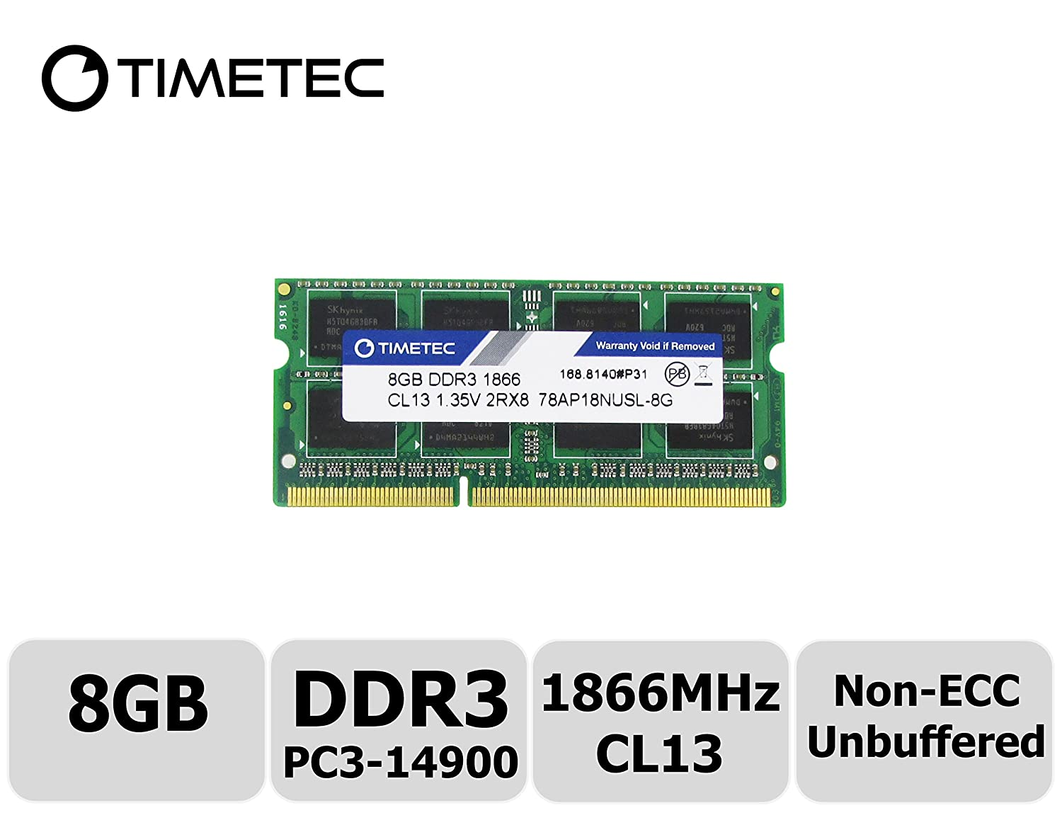 Timetec Compatible 8GB DDR3L 1866MHz PC3-14900 Unbuffered Non-ECC 1.35V CL13 2Rx8 Dual Rank 204 Pin SODIMM Memory RAM Module Upgrade (8GB)