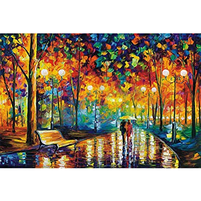 Jigsaw Puzzles 1000 Pieces for Adults, Wooden Pattern Blocks Jigsaw Puzzle Unique Home Decoration Educational Toy Gift - Rainy Night Walk: Home & Kitchen [5Bkhe0505069]
