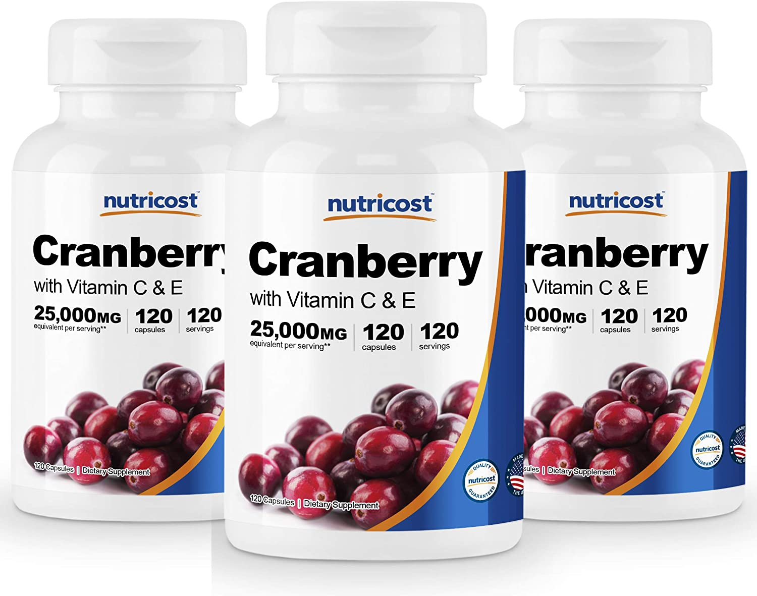 Nutricost Cranberry Extract 25,000mg 120 Servings 3 Bottles