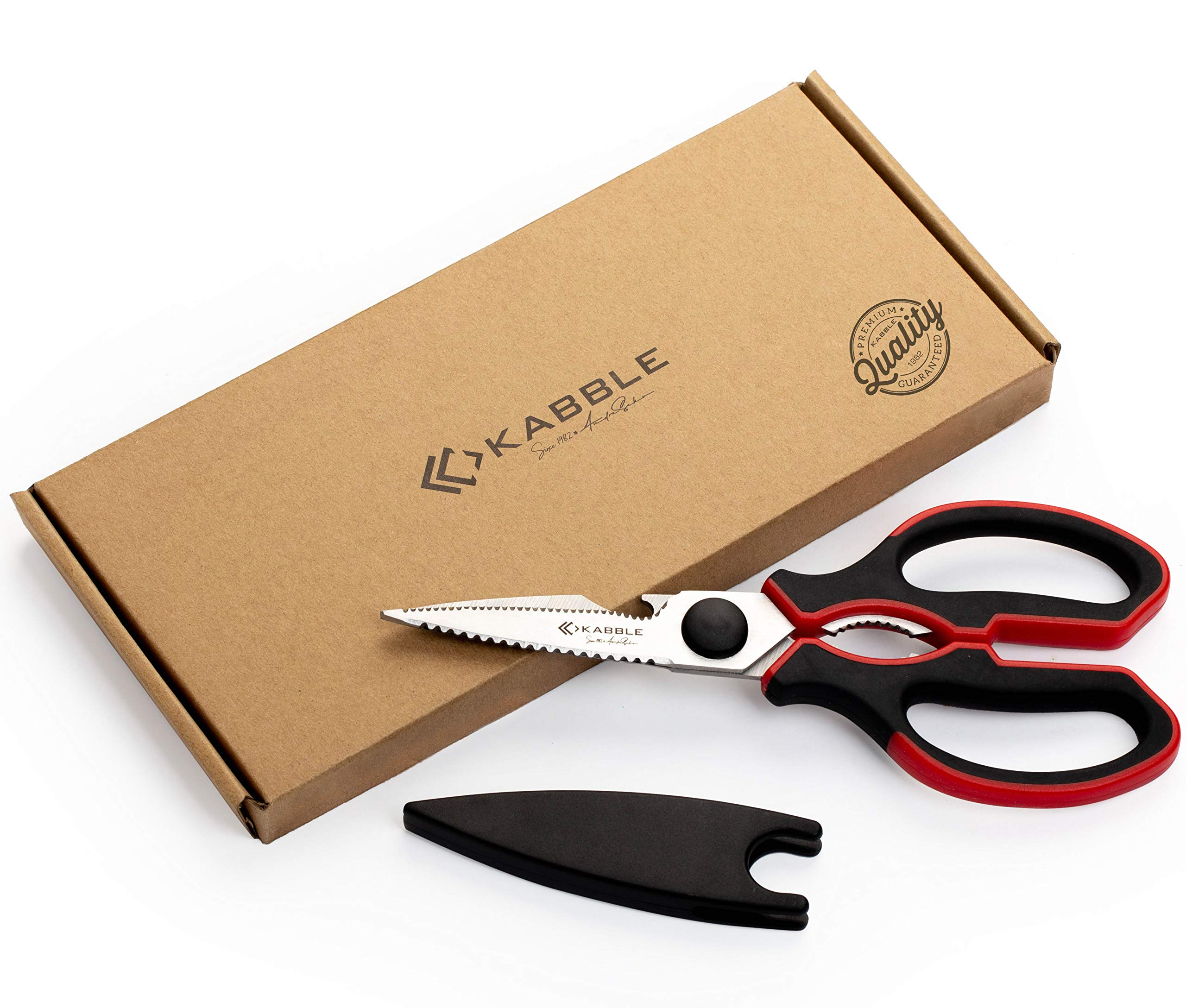KABBLE Premium Heavy Duty Kitchen Shears, Multifunction Kitchen Scissors, Latest and Smart Designed, As Sharp As Any Knife, Black-Red by KABBLE
