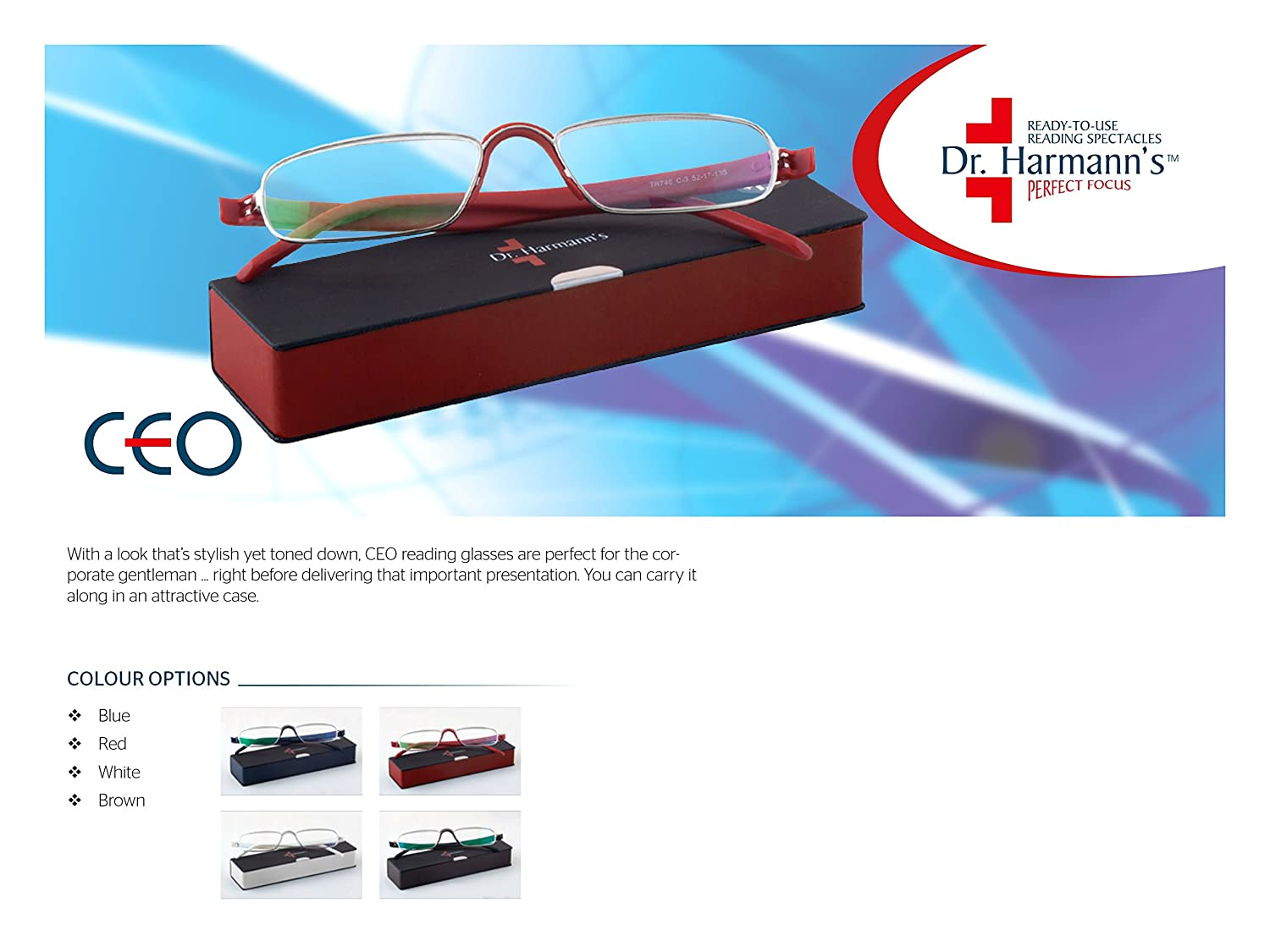 d8ff4ee2c94 Dr. Harmann s CEO Metal Folding Reading Glasses With Premium Soft Feel Hard  Case (+2.50