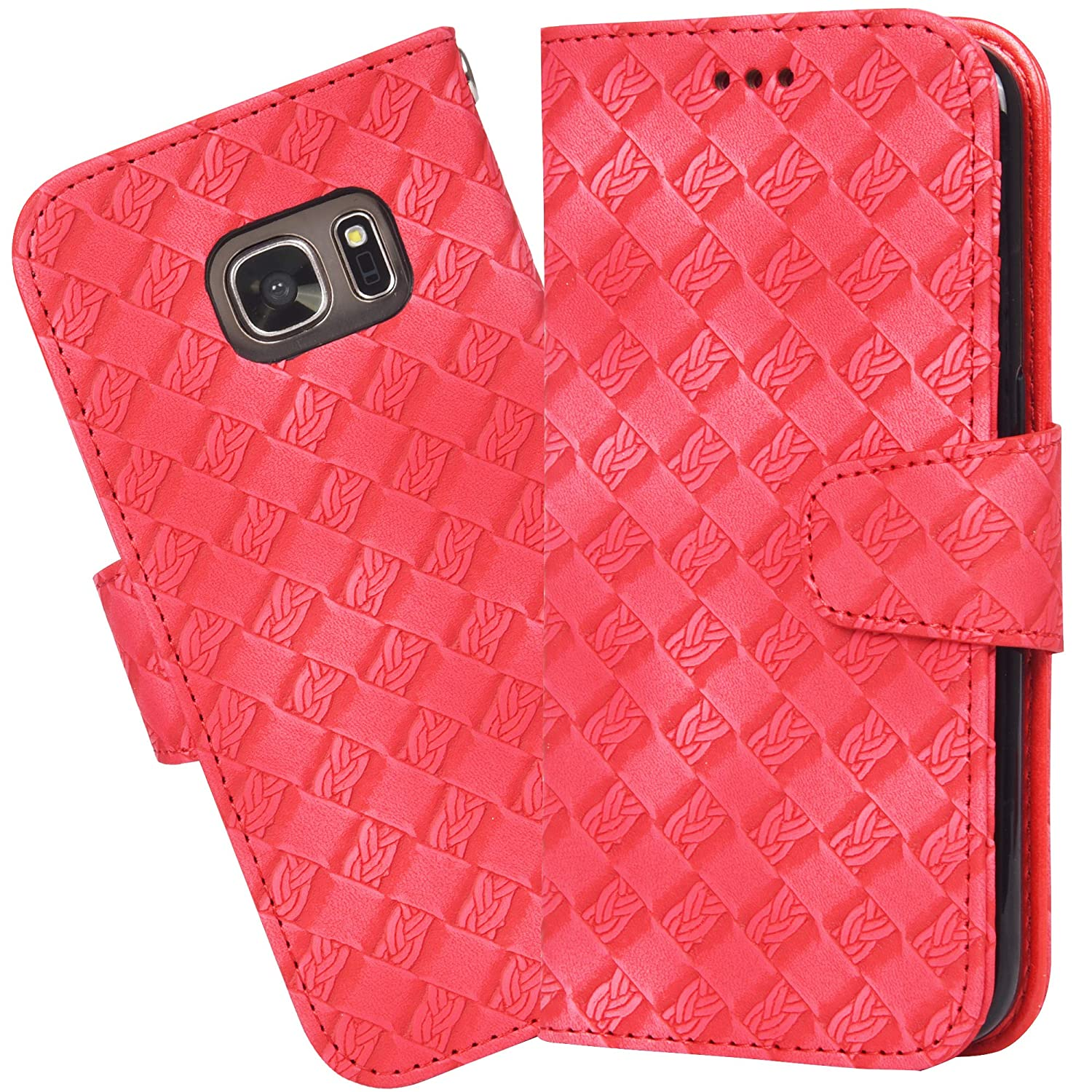 Rosegold Flip Folio Galaxy s7 Case PU Leather Wallet case with ID/&Credit Card Pockets for Samsung Galaxy S7 Kickstand Feature Wrist Strap Arae