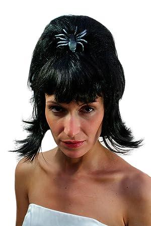 Wig Me Up PW008-P103 ELVIRA Drácula - Peluca Halloween, vampiros, bruja,
