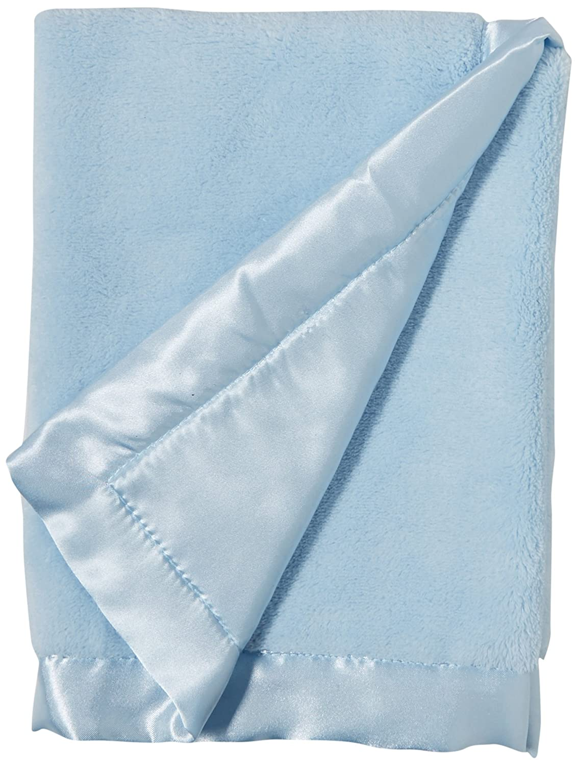Elegant Baby Ultra Plush Blankie, Satin Border and Back Blankie 20 x 20 Inch in Baby Blue 87634