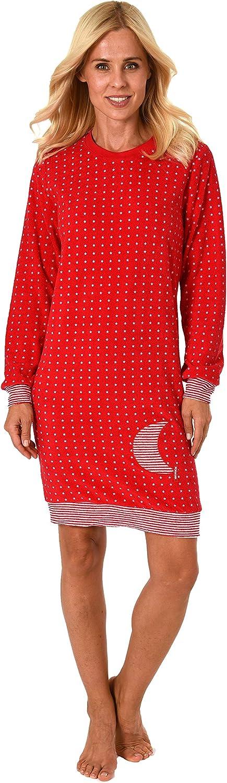 NORMANN W/ÄSCHEFABRIK Damen Frottee Nachthemd mit B/ündchen Sterne Tupfendesign auch in /Übergr/össen bis 60//62