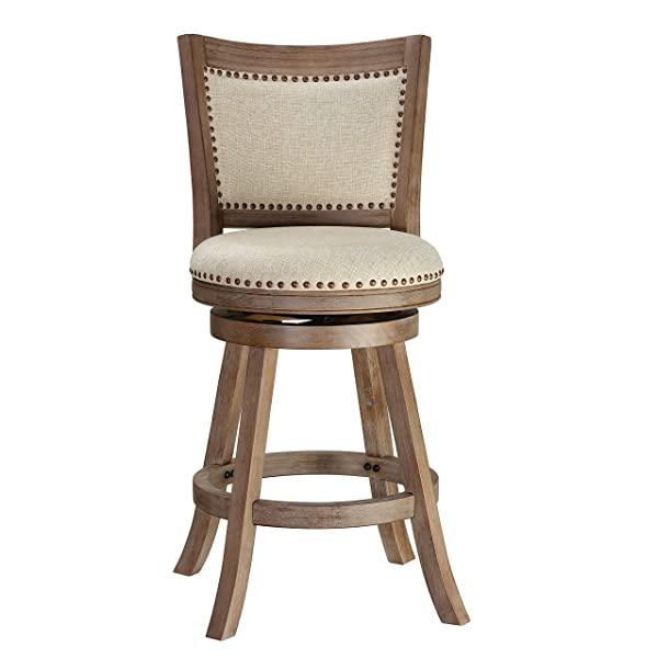 "Cortesi Home CH-CS624495 Marko Stool in Beige Fabric Swivel Seat with Back, 24"" Counter Height, Driftwood"