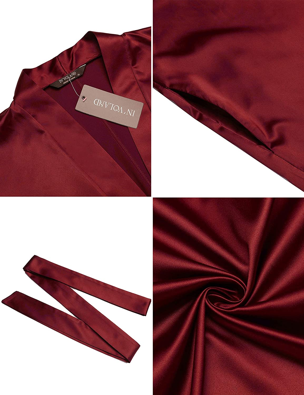 INVOLAND Womens Plus Size Robe Kimonos 3//4 Sleeve Satin Robes Silky Bathrobe Sleepwear with Pockets(1X-6X)