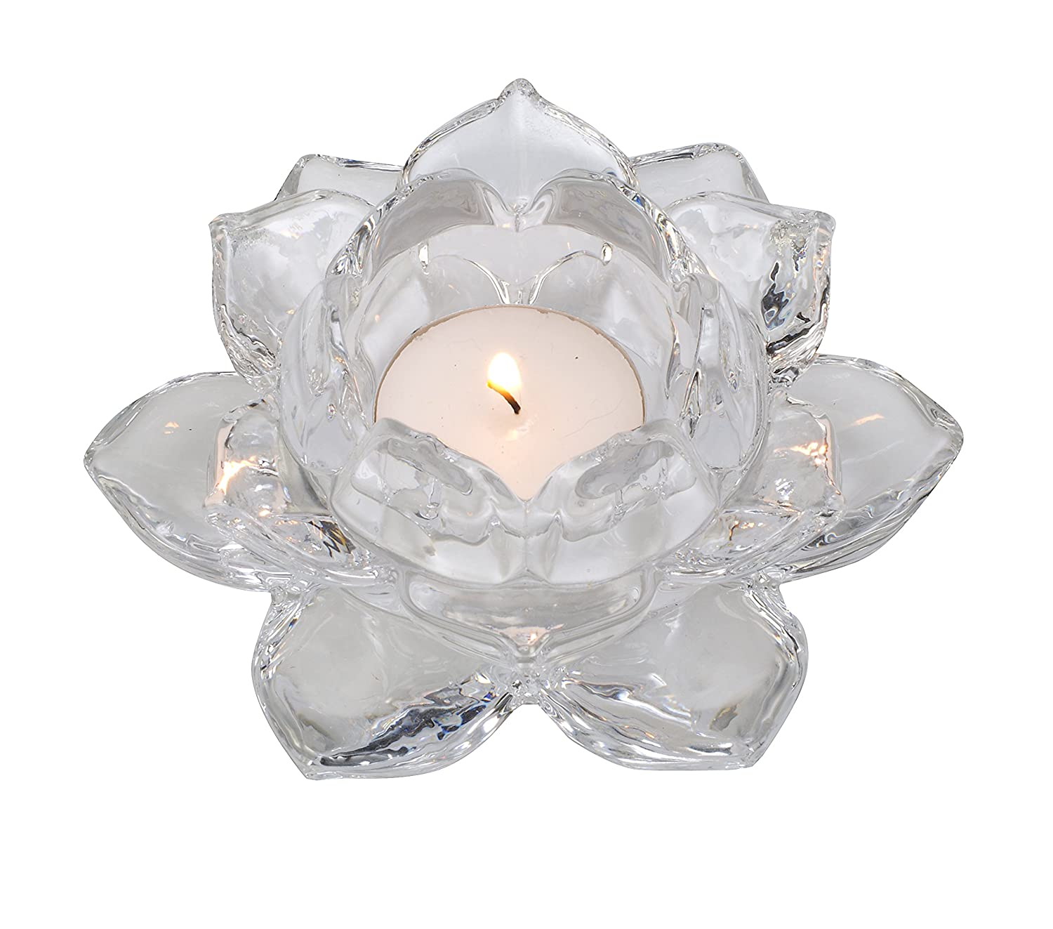 Amazon Biedermann Sons Clear Glass Lotus Tea Light