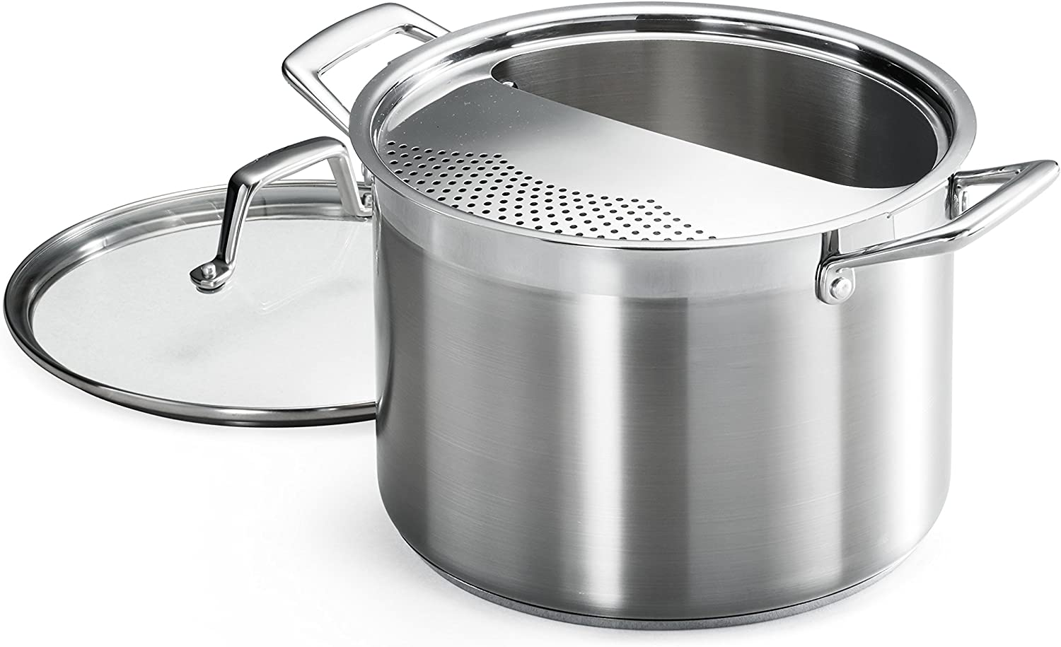 Tramontina 80120/509DS Lock & Drain Pasta Cooker Pot with Strainer Lid, 18/8 Stainless Steel, Induction-Ready, Impact-Bonded, 8-Quart