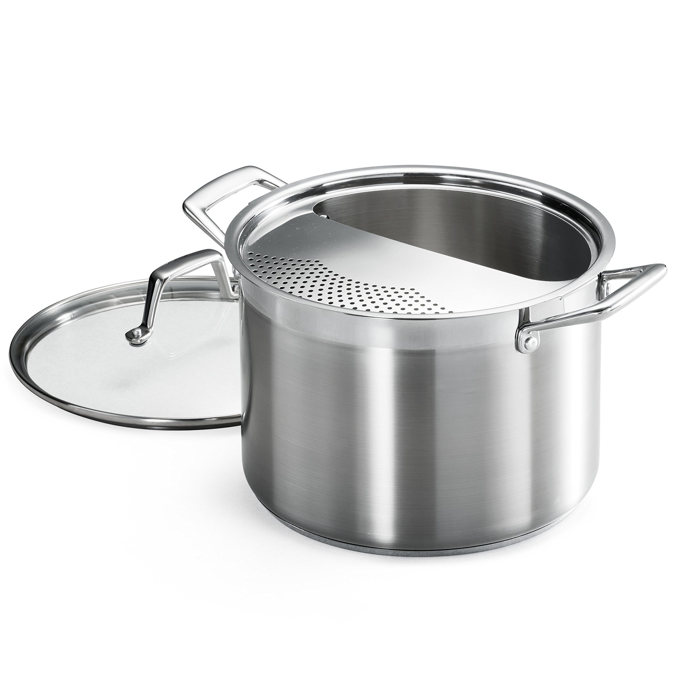 Tramontina 80120/509DS Lock & Drain Pasta Cooker Pot with Strainer Lid, 18/8 Stainless Steel, Induction-Ready, Impact-Bonded, 8-Quart by Tramontina (Image #1)