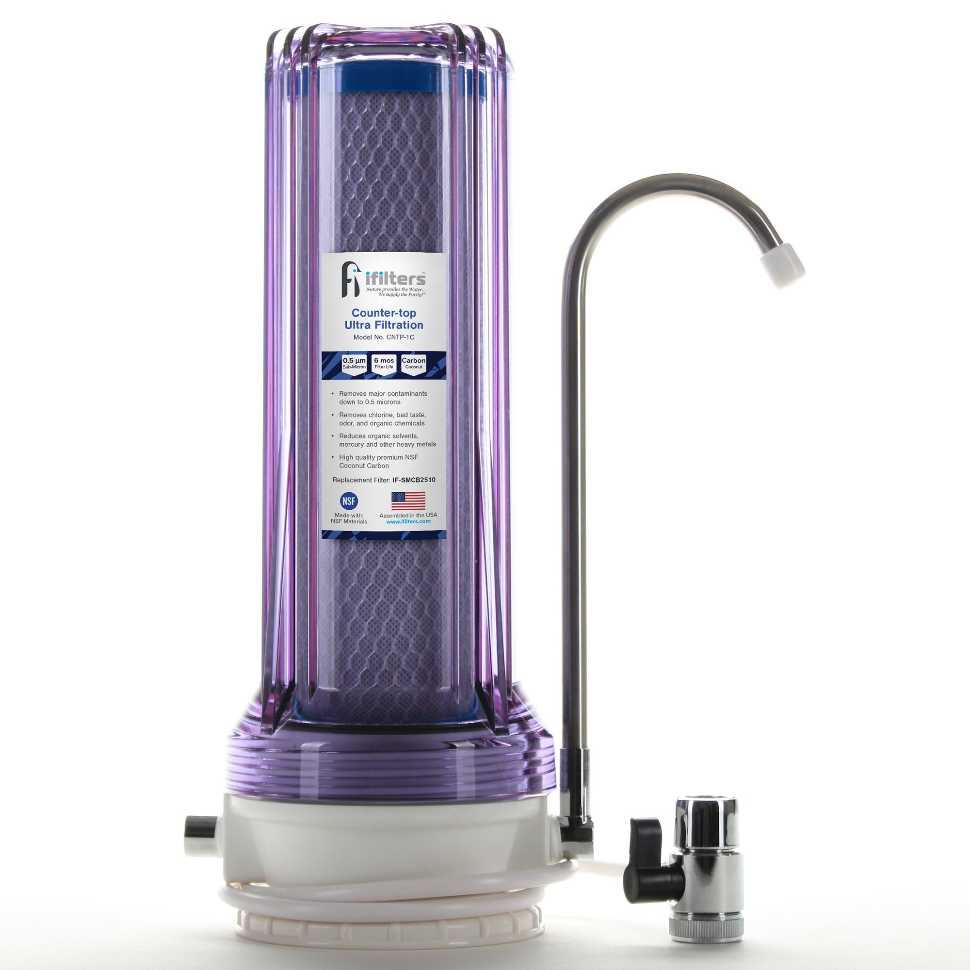 Countertop Ultra Drinking Water Filter for VOCs Cysts Pesticides Herbicides Chlorine Taste & Odor - Clear, Built in USA
